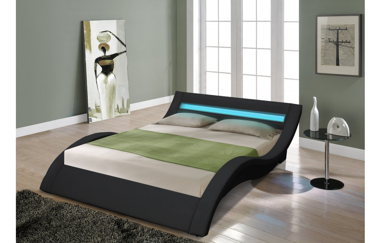 lit double king size noir 180 cm avec sommier et bande led. Black Bedroom Furniture Sets. Home Design Ideas