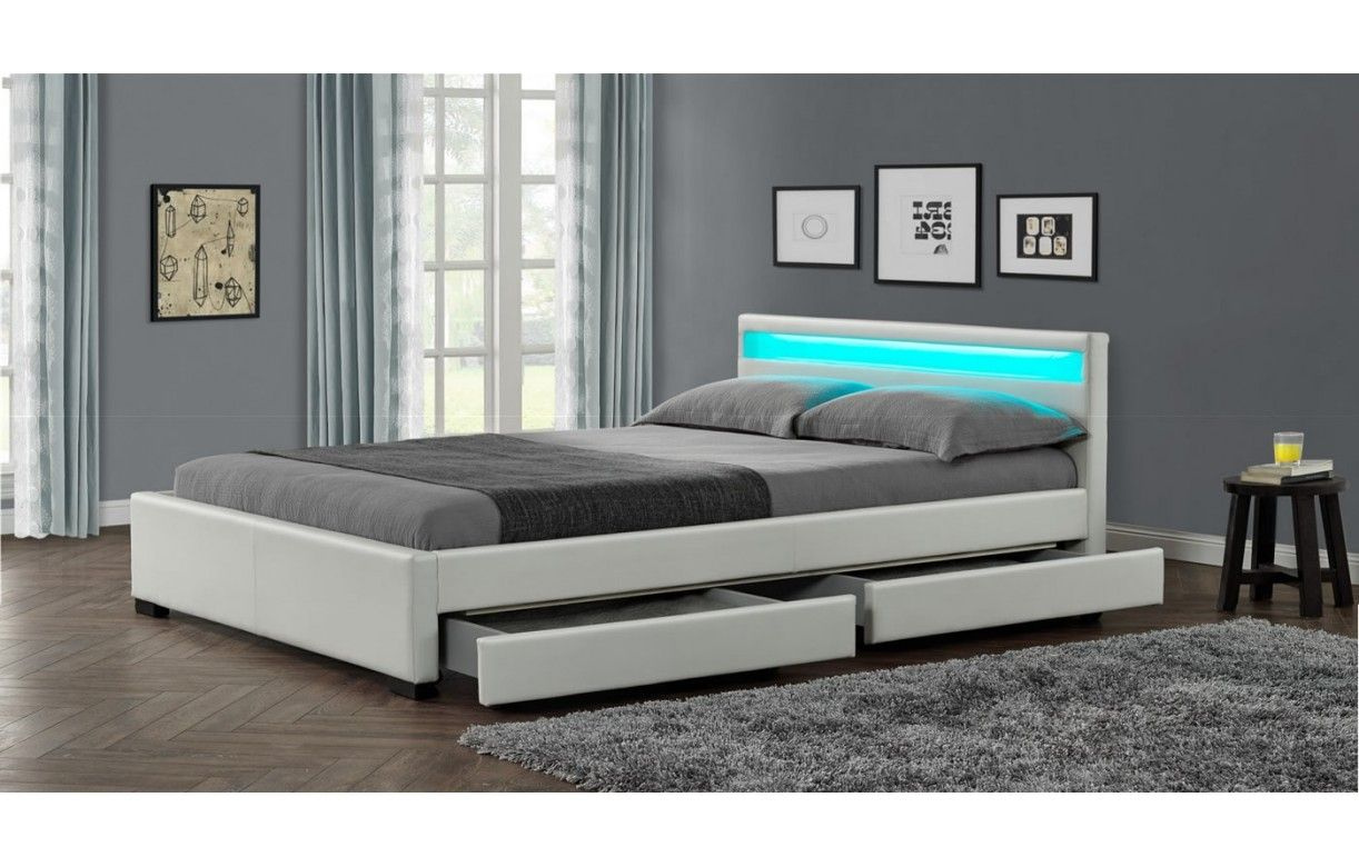 Lit design en simili cuir blanc 160 cm avec bande led et 4 for Lit blanc deux places