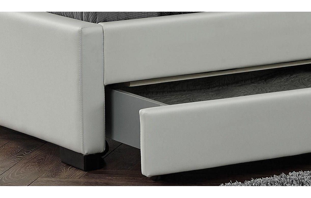 lit design en simili cuir blanc 160 cm avec bande led et 4. Black Bedroom Furniture Sets. Home Design Ideas