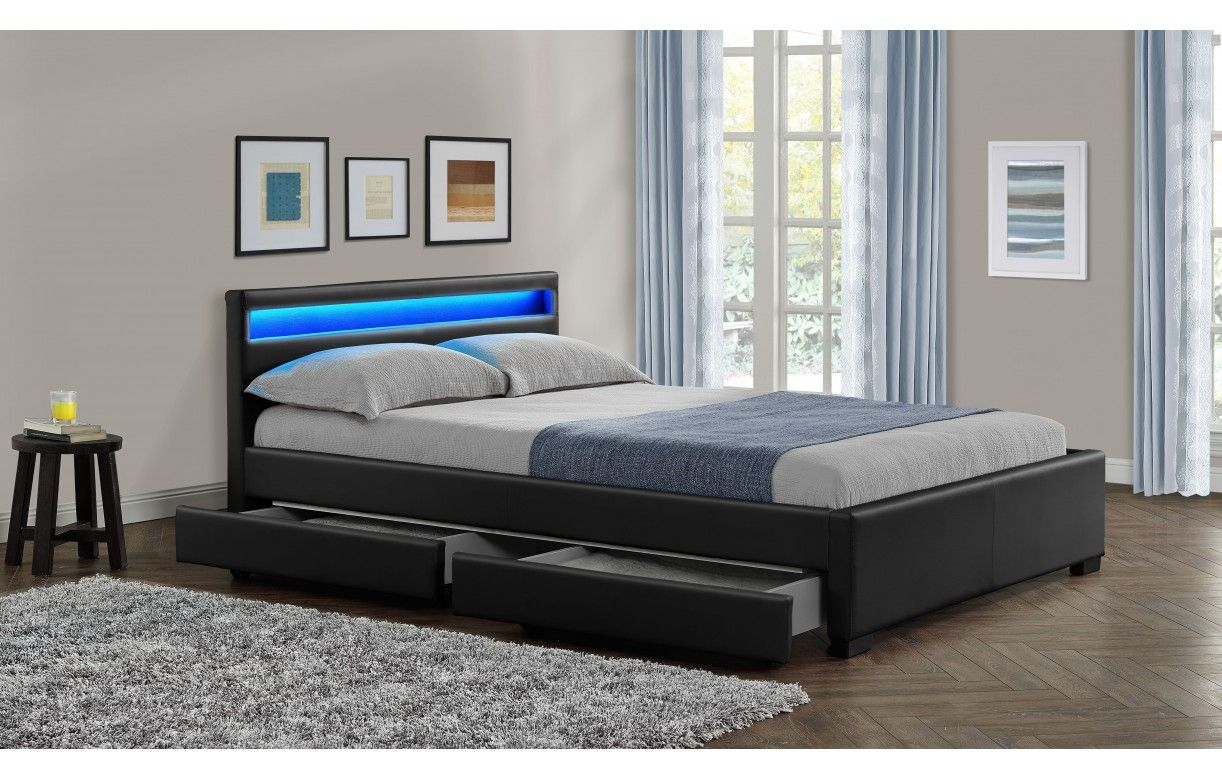 lit double design noir italien 160 cm avec bande led et 4. Black Bedroom Furniture Sets. Home Design Ideas