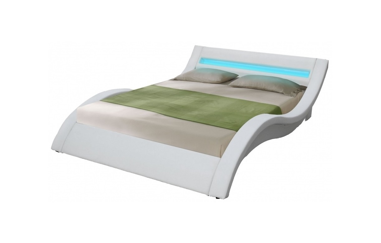Lit double king size blanc 180 x 200 avec sommier et bande led light decome store for Chambre avec lit king size