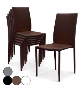 Lot de 6 chaises empilables en simili cuir Modani - 4 coloris -