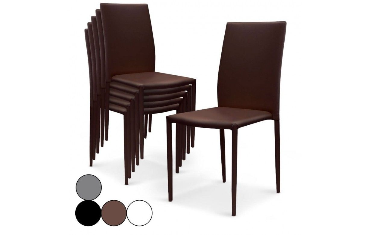 lot de 6 chaises empilables en simili cuir modani 4 coloris decome store. Black Bedroom Furniture Sets. Home Design Ideas