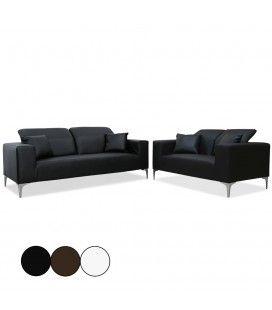 Salon complet Canapés 2 places + 3 places avec têtières Tanga - 3 coloris