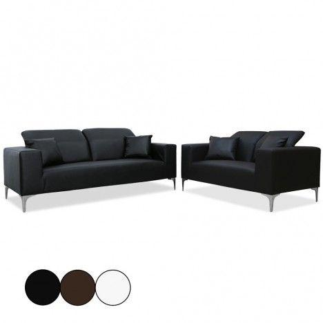 Salon complet Canapés 2 places + 3 places avec têtières Tanga - 3 coloris -