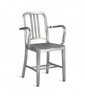 Chaise design en acier inox brossé avec accoudoirs Yealy -
