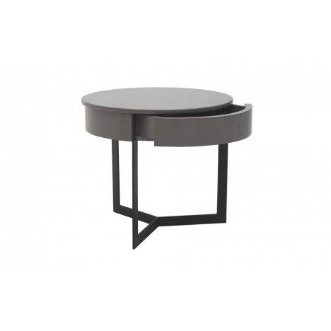 Table de nuit chevet laqué noir blanc ou gris - Fabry -