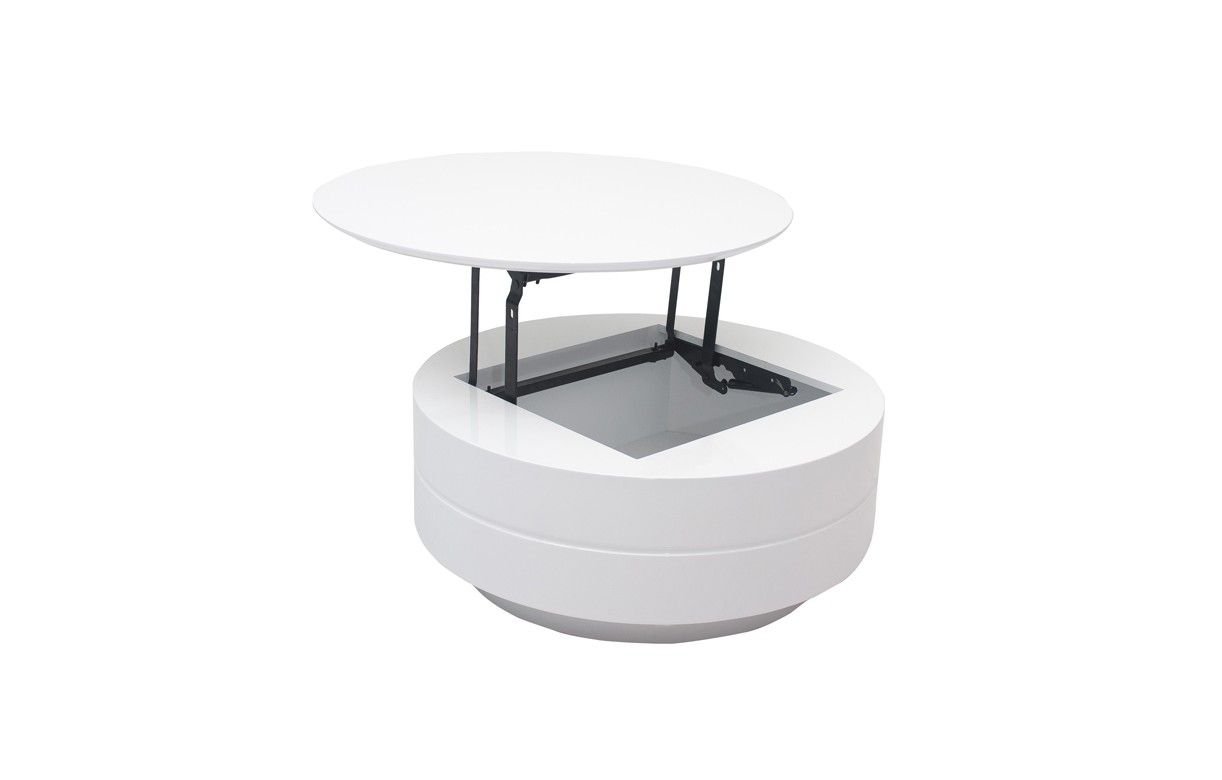 Table basse grise ou blanche avec plateau relevable et for Table basse scandinave plateau relevable