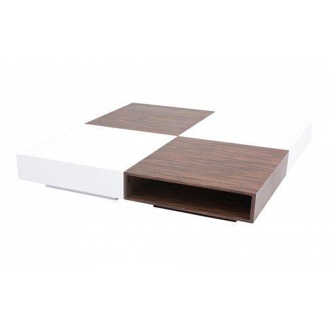 Table basse laquée design avec rangements Fauvy -