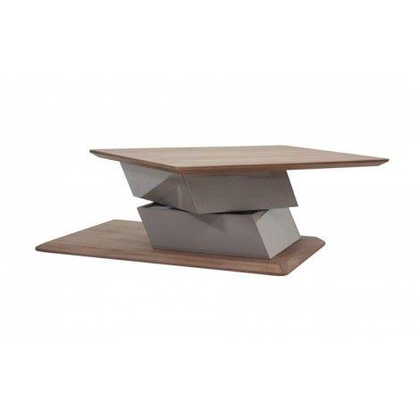 Table basse rotative grise ou blanche laquée et bois noyer Fulya -