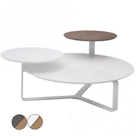 Table basse laquée bois 3 plateaux Fatiny - 2 coloris -