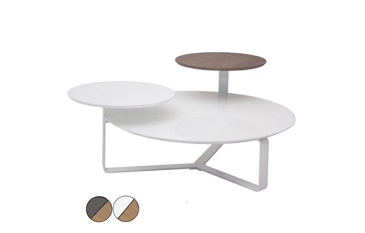 table basse laqu e bois 3 plateaux fatiny 2 coloris decome store. Black Bedroom Furniture Sets. Home Design Ideas