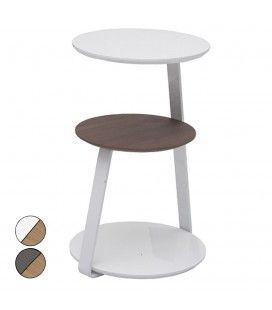 Table d'appoint laquée blanc ou gris et bois noyer Fatiny
