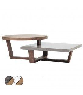 Table basse en bois de noyer blanc ou gris laqué à deux plateaux Firmy