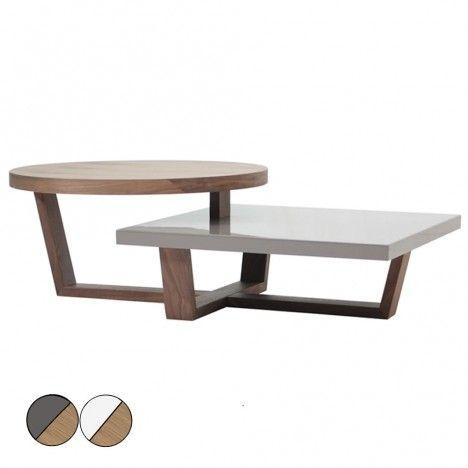 Table basse en bois de noyer blanc ou gris laqué à deux plateaux Firmy -