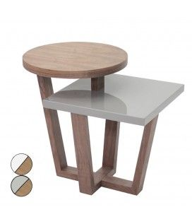 Table d'appoint bois de noyer et laquée blanc ou gris Firmy -