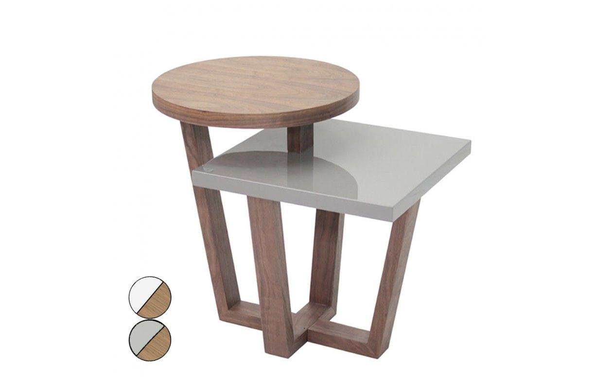 Table d 39 appoint bois de noyer et laqu e blanc ou gris firmy decome store - Table basse laquee blanc et bois ...