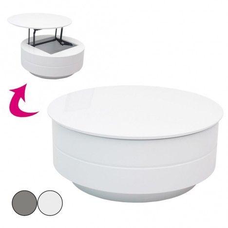 Table basse grise ou blanche avec plateau relevable et coffre Fatosy -