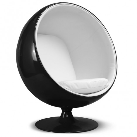 fauteuil en fibre de verre et velours noir et blanc ball decome store. Black Bedroom Furniture Sets. Home Design Ideas