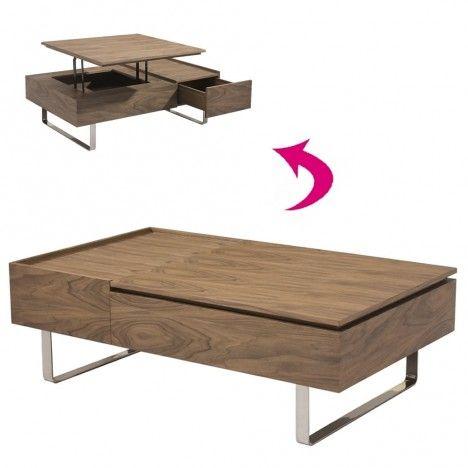 Table basse laqué bois noyer avec tiroir et plateau relevable Fayla -