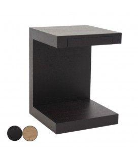 Table de chevet chene noir ou noyer avec tiroir intégré Fayely -