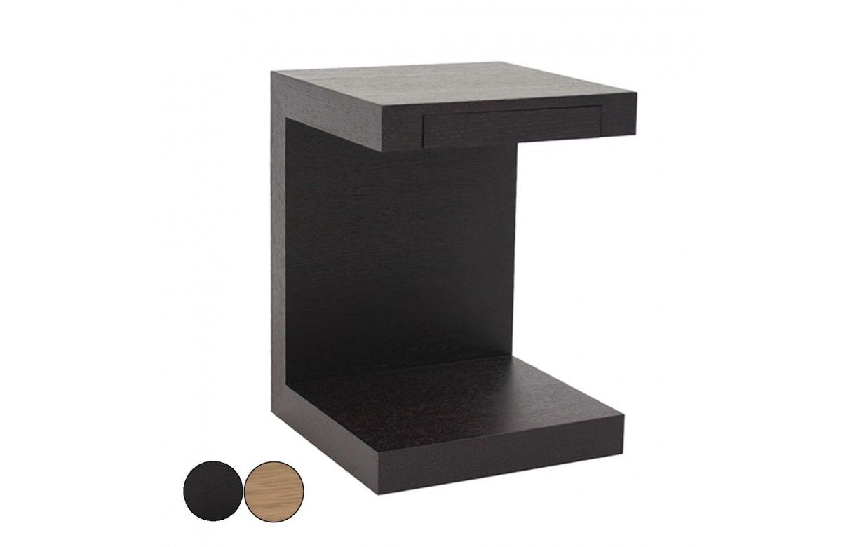Table de chevet chene noir ou noyer avec tiroir int gr - Table de chevet a suspendre ...