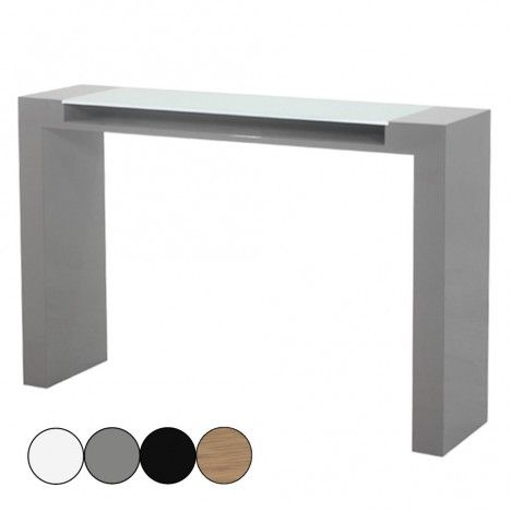 Console laquée avec plateau en verre et rangement Fidja - 4 coloris -
