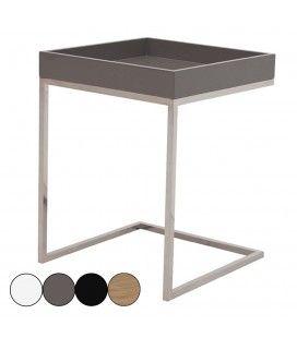 Petite table d'appoint acier inox et plateau laqué Finy - 4 coloris -
