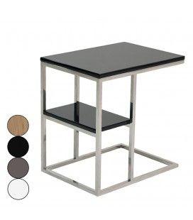 Table d'appoint en acier inox poli et plateau en bois Flary - 4 coloris -