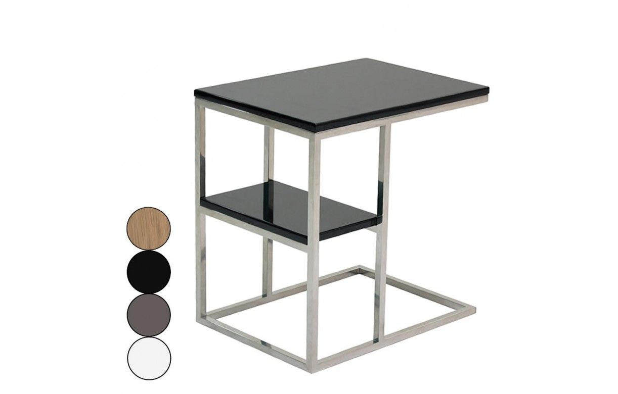 table d 39 appoint en acier inox poli et plateau en bois. Black Bedroom Furniture Sets. Home Design Ideas