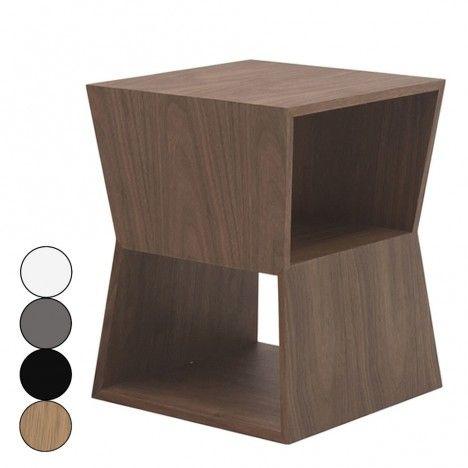 Chevet design en bois avec deux niches de rangement Fredy - 4 coloris -