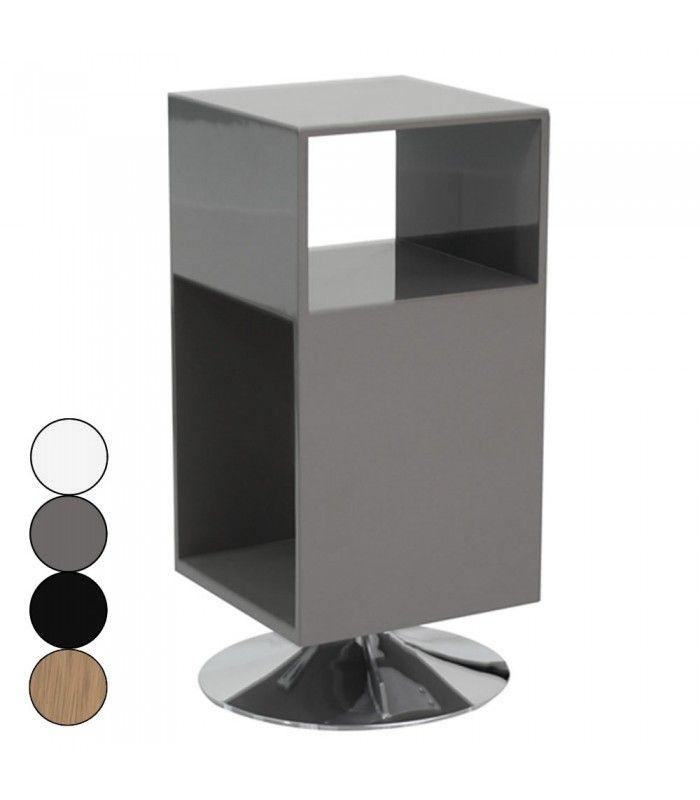 Table De Chevet Design Avec Rangements Et Pied Metal Fridy 4