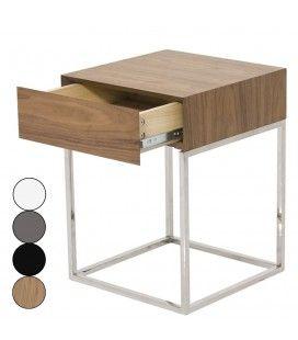 Chevet 1 tiroir design en acier inox et bois Freeky - 4 coloris -
