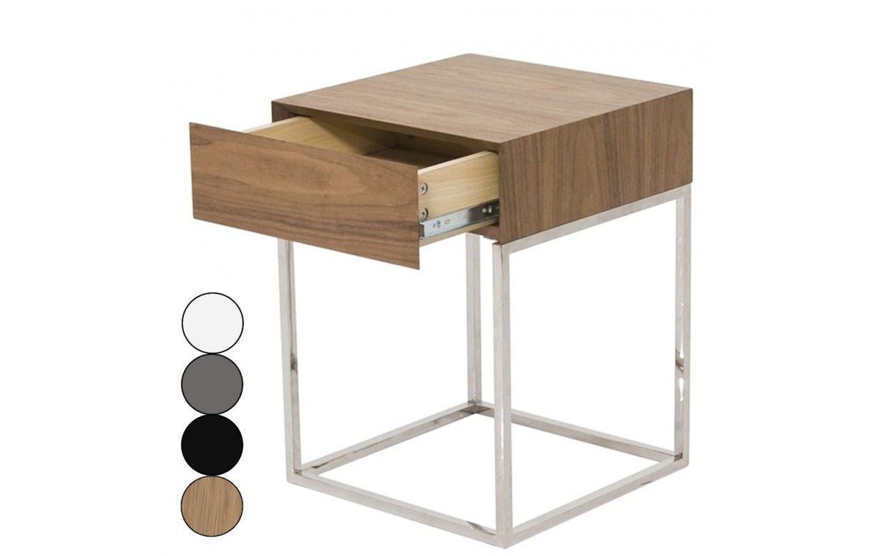 chevet 1 tiroir design en acier inox et bois freeky 4 coloris decome store. Black Bedroom Furniture Sets. Home Design Ideas