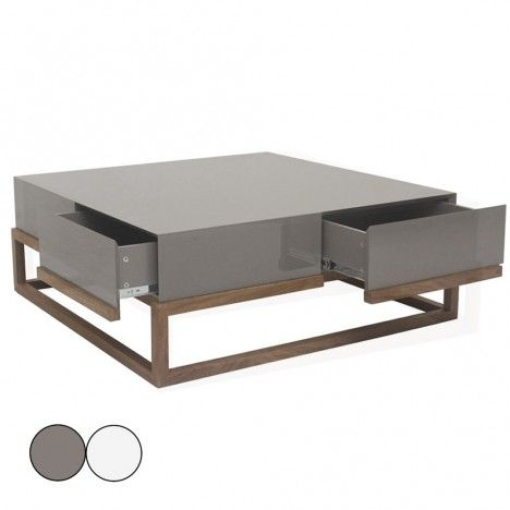 Table basse en hêtre massif et plateau laqué gris ou blanc 4 tiroirs Freya -
