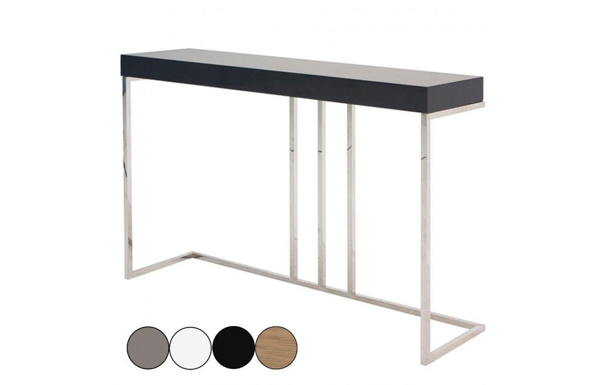 console design en acier inox et bois laqu garrya 4 coloris decome store. Black Bedroom Furniture Sets. Home Design Ideas