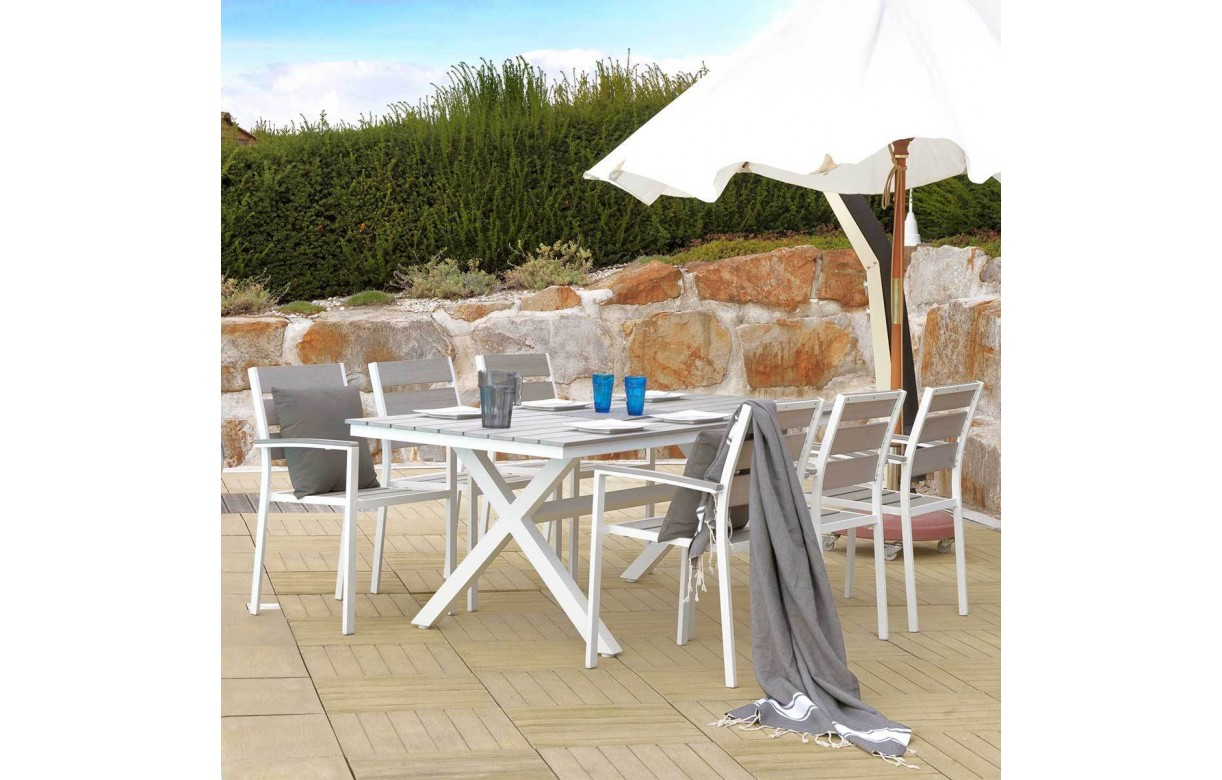 Table d 39 ext rieur et 4 fauteuils en aluminium gris et blanc for Table exterieur en aluminium