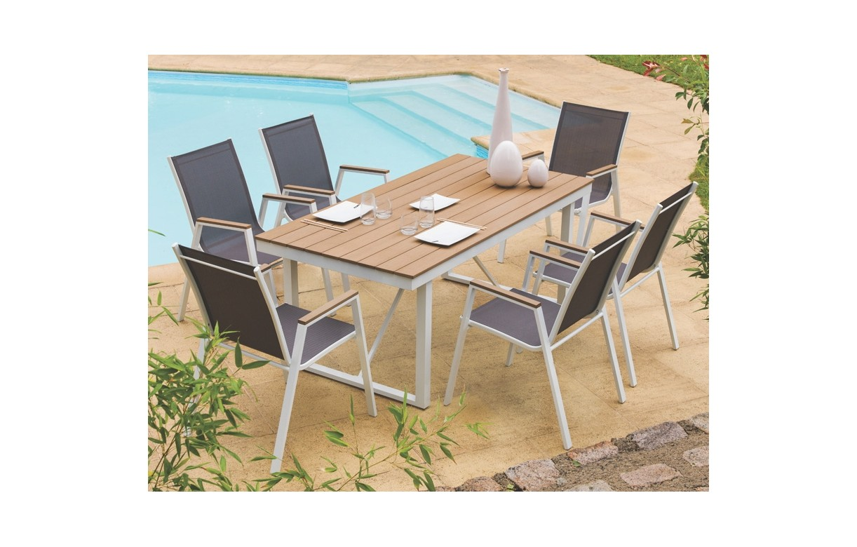 table de jardin 6 fauteuils en aluminium et lattes pvc bois lavandy decome store. Black Bedroom Furniture Sets. Home Design Ideas