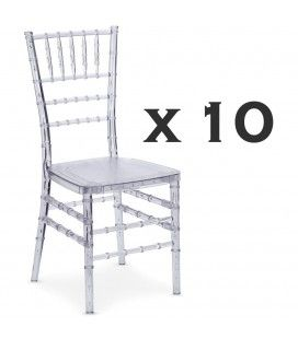 Lot de 10 chaises transparentes design en PVC transparent Chiavari
