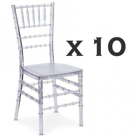 Lot de 10 chaises transparentes design en PVC transparent Chiavari -