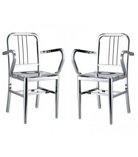 Chaise inox design avec accoudoirs Yealy - Lot de 2