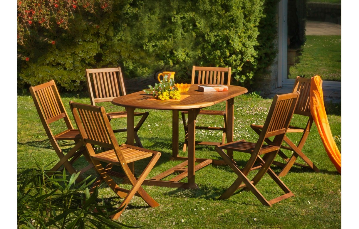 Table d 39 ext rieur et 6 chaises pliantes en bois d 39 acacia for Table 6 chaises