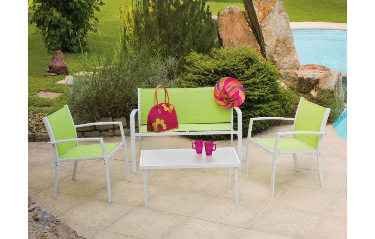 Best salon de jardin aluminium vert anis contemporary for Portillon de jardin metal vert