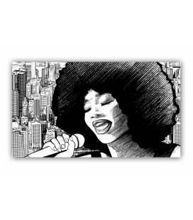 Tableau rock Chanteuse afro 80x40 cm STARLYNG