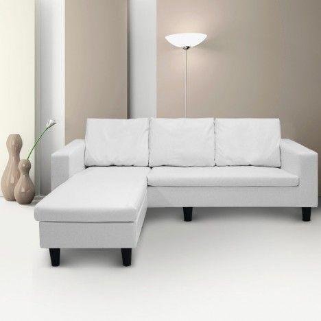 Canapé d'angle réversible en simili cuir blanc gris ou noir Malagy -