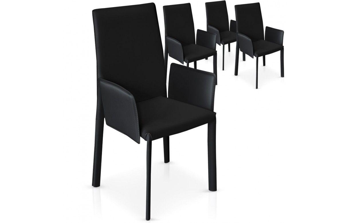 Lot De 4 Chaises Avec Accoudoirs Noires Grises Ou Blanches Supra
