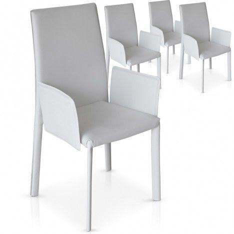 Lot de 4 chaises avec accoudoirs noires grises ou blanches Supra -