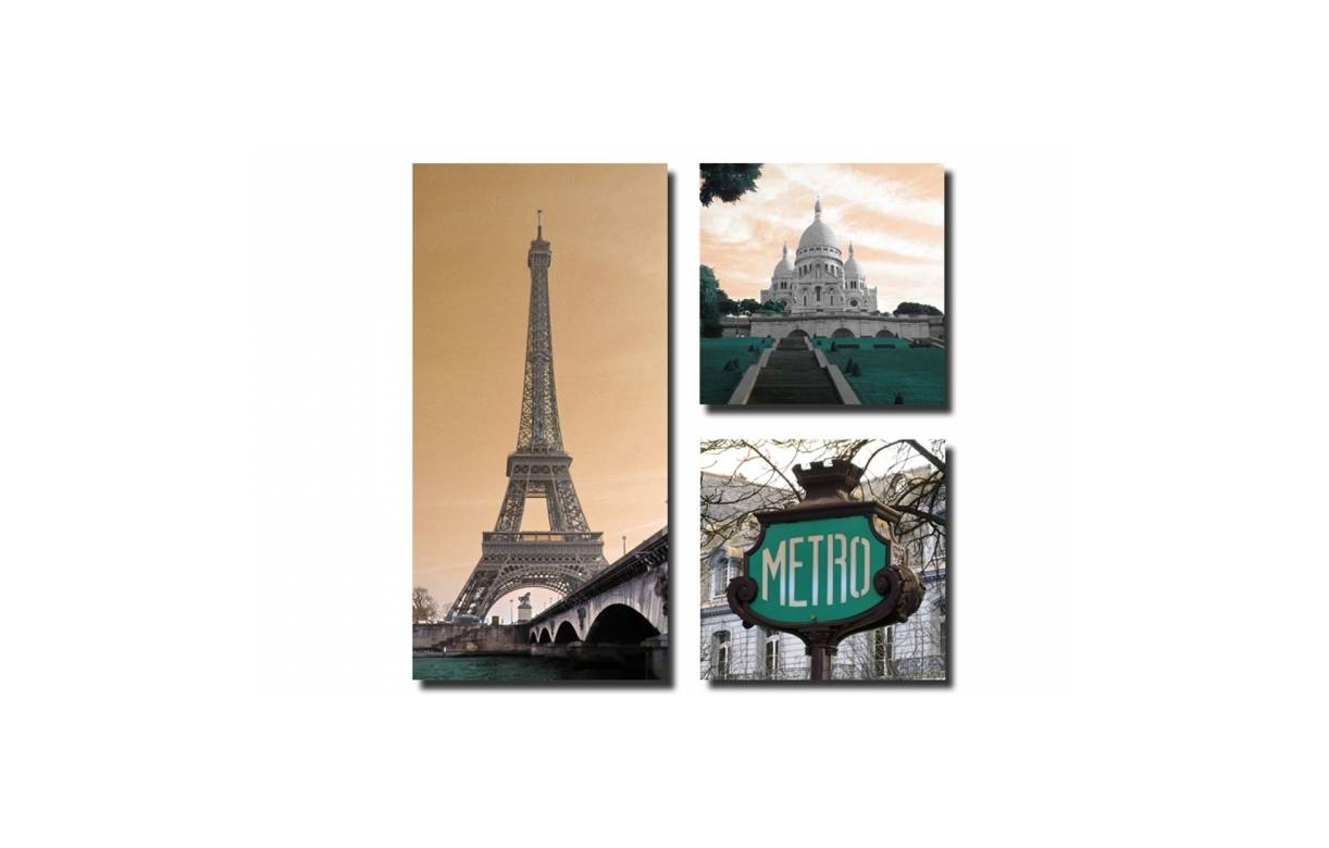 tableau triptyque paris city 80x80 cm eiffel decome store. Black Bedroom Furniture Sets. Home Design Ideas