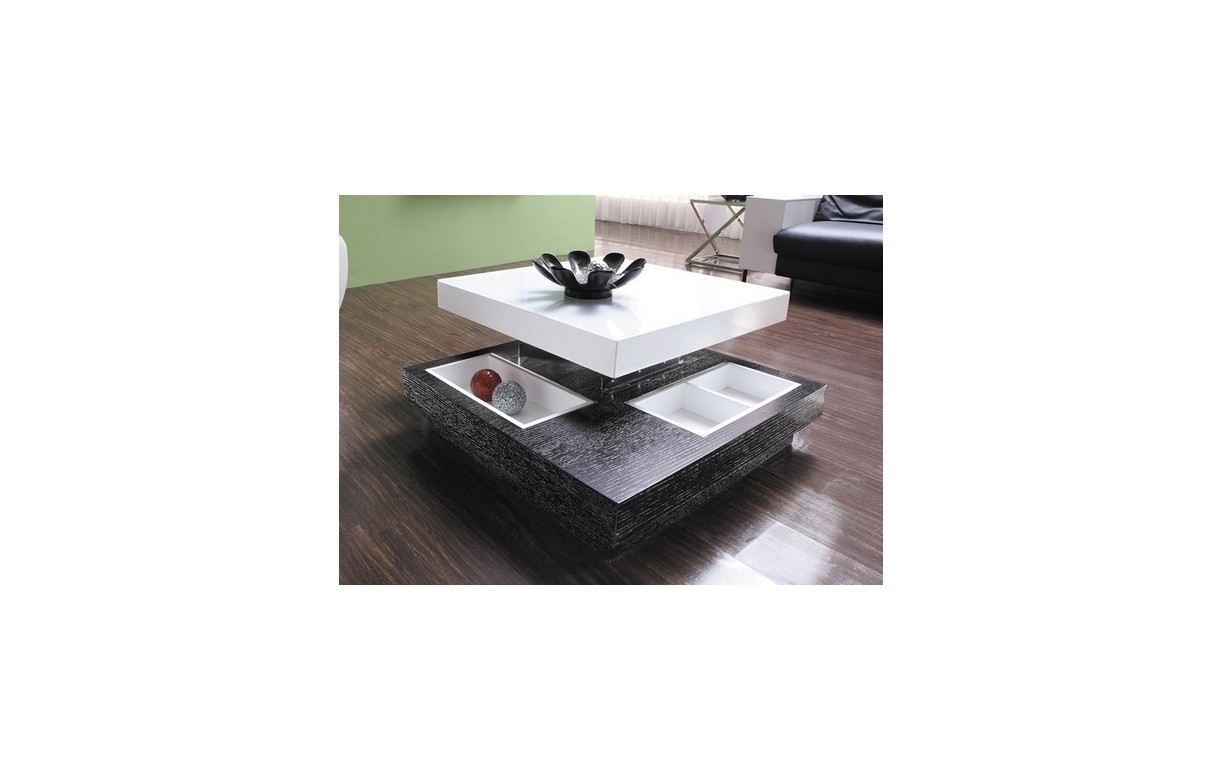Table basse design avec rangements et plateau relevable for Table basse plateau