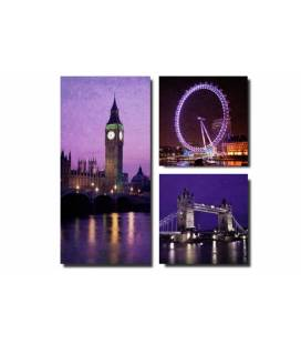 Tableau triptyque London by night 80x80 cm BRIT